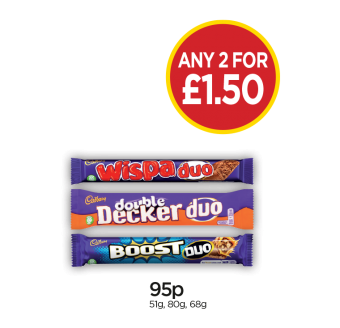 Cadbury Wispa Duo, Double Decker Duo, Boost Duo - Any 2 for £1.50 at Budgens