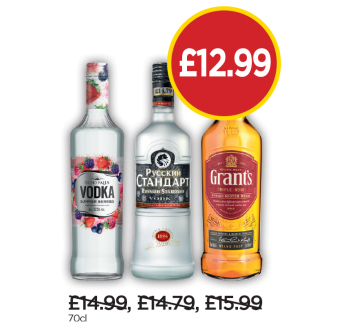 Echo Falls Summer Berries Vodka, Russian Standard, Grants Whisky - Now £12.99 at Budgens
