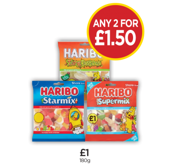 Haribo Starmix, Tangfastics, Supermix - Any 2 for £1.50 at Budgens