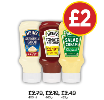 Heinz Seriously Good Mayonnaise, Tomato Ketchup, Salad Cream Top Down - Now £2 at Budgens