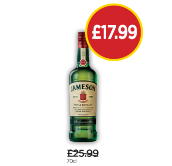 Jameson Irish Whiskey - Was £25.99, Now £17.99 at Budgens