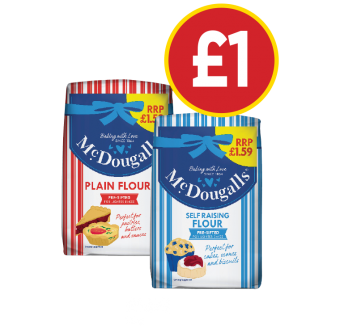 McDougalls Plain Flour, Self Raising Flour - Was £1.59, Now £1 at Budgens