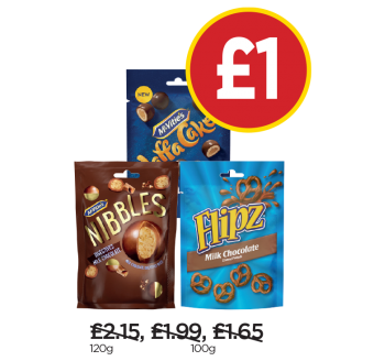 McVitie's Nibbles Milk Chocolate Digestives, McVitie's Jaffa Cakes Nibbles, Flipz Milk Chocolate Pretzels - Now £1 at Budgens