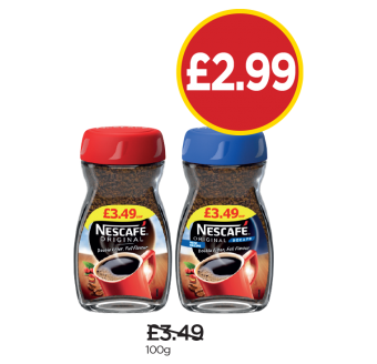 Nescafe Original, Original Decaff - Was £3.49, Now £2.99 at Budgens