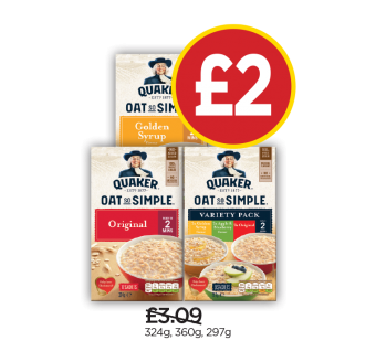 Quaker Oatso Simple Original, Golden Syrup, Variety Porridge Sachets - Was £3.09, Now £2 at Budgens