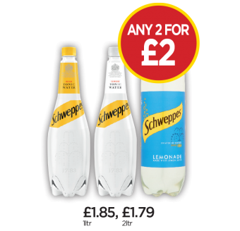 Schweppes Tonic Water, Tonic Water Slimline, Lemonade - Any 2 for £2 at Budgens