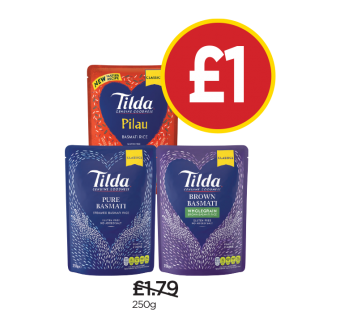 Tilda Steamed Basmati Rice, Steamed Pilau Rice, Steamed Brown Basmati Rice - Was £1.79, Now £1 at Budgens