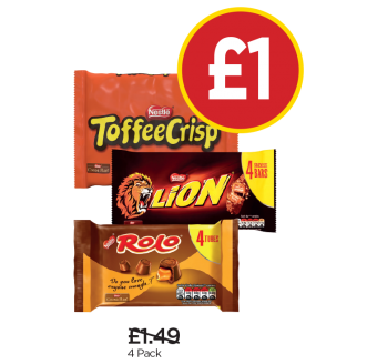 Toffee Crisp Multipack, Rolo Multipack, Lion Bar - Was £1.49 - Now £1 at Budgens