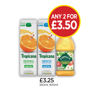 Tropicana Original Orange, Smooth Orange, Copella Apple Juice - Any 2 for £3.50 at Budgens