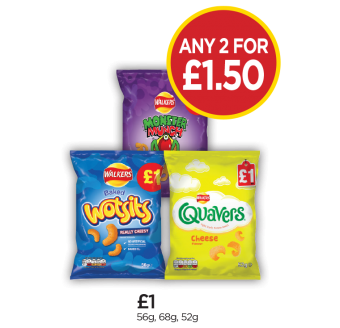 Wotsits Cheese, Monster Munch Pickled Onion, Quavers Cheese - Any 2 for £1.50 at Budgens
