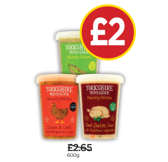 Yorkshire Provender Chicken Lentil & Butternut Soup, Pea & Spinach Soup, Roast Chicken & Traditional Vegetable Soup - Was £2.65, Now £2 at Budgens