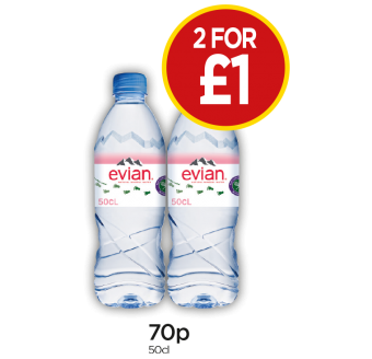 Evian Mineral Water - 2 for £1 at Budgens