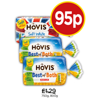 Hovis Best of Both Medium, Best of Both Thick, Soft White Medium - Was £1.29, Now 95p at Budgens