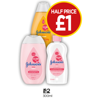 Johnson's Baby Bath, Baby Lotion, Baby Oil, Baby Shampoo - Half Price - Now £1 at Budgens