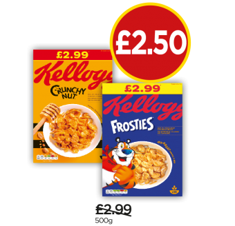 Kellogg's Crunchy Nut, Frosties - Was £2.99, Now £2.50 at Budgens
