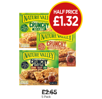 Nature Valley Oat & Honey, Maple Syrup, Crunchy Variety - Half Price - Now £1.32 at Budgens