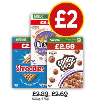 Nestle Frosted Shreddies, Cheerios, Cookie Crisp - Now £2 at Budgens