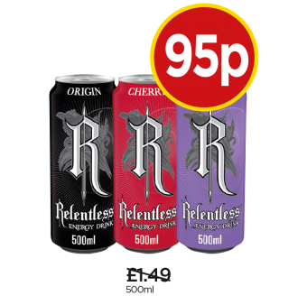 Relentless Energy Drink, Cherry Drink, Passion Punch Drink - Was £1.49, Now 95p at Budgens