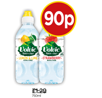 Volvic Touch Of Fruit Lemon & Lime Sportscap, Strawberry Sportscap - Was £1.29, Now 90p at Budgens