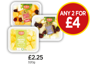 Del Monte Pineapple Chunks, Melon & Grape, Summer Fruit Salad - Any 2 for £4 at Budgens