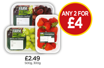 Farm Fresh British Strawberries, White Seedless Grapes, Red Seedless Grapes - Any 2 for £4 at Budgens