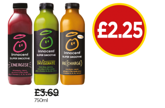 Innocent Super Smoothie Energise, Invigorate, Recharge - Was £3.69, Now £2.25 at Budgens