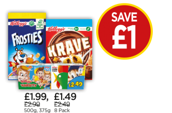 Kellogg's Frosties, Variety, Krave - Save £1 at Budgens