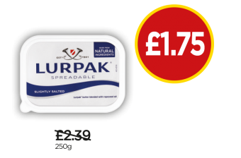 Lurpak Spreadable - Was £2.39, Now £1.75 at Budgens