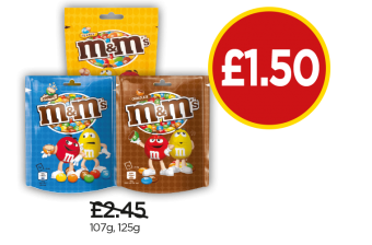 M&M's Crispy Pouch, Peanut Pouch, Chocolate Pouch - Was £2.45, Now £1.50 at Budgens