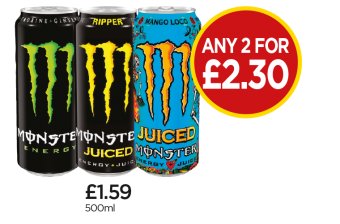 Monster Energy, Ripper, Mango Loco - Any 2 for £2.30 at Budgens
