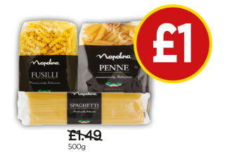Napolina Short Spaghetti, Penne, Fusilli - Was £1.49, Now £1 at Budgens