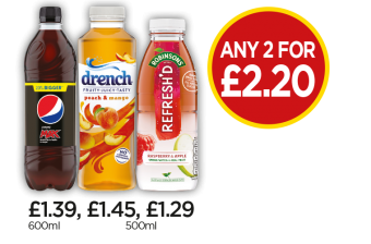 Pepsi Max, Drench Peach & Mango, Robinsons Refresh'D Raspberry & Apple Spring Water - Any 2 for £2.20 at Budgens