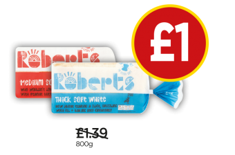Roberts Thick Soft White Bread, Medium Soft White Bread - Was £1.39, Now £1 at Budgens