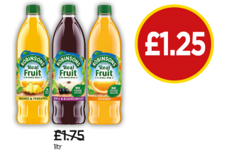 Robinsons No Added Sugar Orange & Pineapple, Apple & Blackcurrant, Orange - Was £1.75, Now £1.25 at Budgens