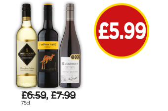 Rosemount Estate Founders Edition Chardonnay, Yellow Tail Shiraz, McGuigan Reserve Cabernet Sauvignon - Now £5.99 at Budgens