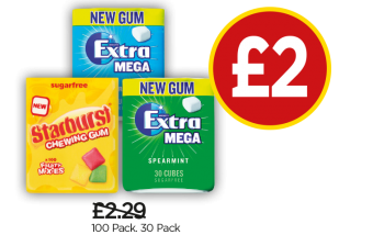 Starburst Fruity Mix Gum Bottle, Wrigley's Extra Peppermint Gum Bottle, Extra Spearmint Gum Bottle - Was £2.29, Now £2 at Budgens