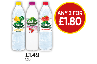 Volvic Touch of Fruit Lemon & Lime, Summer Fruits Orange, Strawberry - Any 2 for £1.80 at Budgens