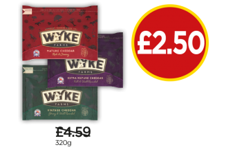 Wyke Farm Mature Cheddar, Extra Mature, Vintage Cheddar - Was £4.59, Now £2.50 at Budgens