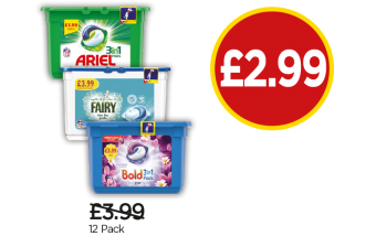 Ariel 3 In 1 Capsules, Fairy Non-Bio Washing Pods, Bold Lavender & Camomile 3 In 1 Washing Pods - Was £3.99, Now £2.99 at Budgens