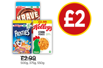 Kellogg's Frosties, Krave, Cornflakes - Was £2.99, Now £2 at Budgens