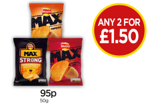 Walkers Max Strong Jalapeno & Cheese Crisps, Walkers Max Paprika Crisps,  Walkers Max Flamin Hot Crisps - Any 2 for £1.50 at Budgens