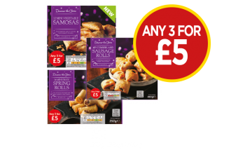 Discover The Choice Vegetable Samosas, Mini Duck Spring Rolls, Cumberland Sausage Rolls - Any 3 For £5 at Budgens