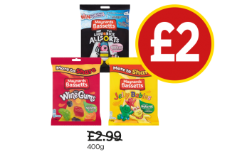Maynard Bassetts Wine Gums, Liquorice Allsorts, Jelly Babies - Was £2.99, Now £2 at Budgens