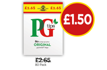 PG Tips 80 Pack - Was £2.65, Now £1.50 at Budgens