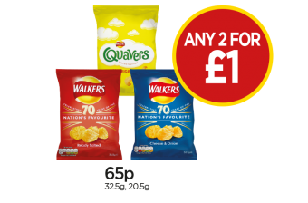 Quavers Cheese, Walkers Ready Salted Crisps, Cheese & Onion Crisps - Any 2 For £1 at Budgens