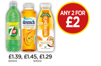 7UP Free, Drench Peach & Mango, Robinsons Refresh'D Orange & Passionfruit Spring Water - Any 2 For £2 at Budgens