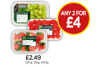 Farm Fresh Strawberries, Raspberries, White Grapes - Any 2 For £4 at Budgens