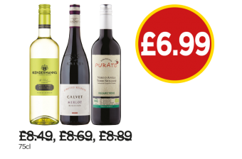Kendermann Special Edition Riesling, Calvet Release Merlot, Purato Nero D'Avola Organic Wine - Now £6.99 at Budgens