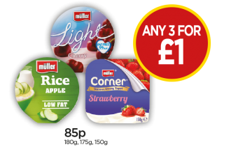 Muller Rice Apple In Syrup, Light Cherry, Fruit Corner Strawberry Yoghurt - Any 3 For £1 at Budgens