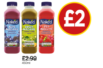 Naked Smoothie Blue Machine, Green Machine, Red Machine - Was £2.99, Now £2 at Budgens